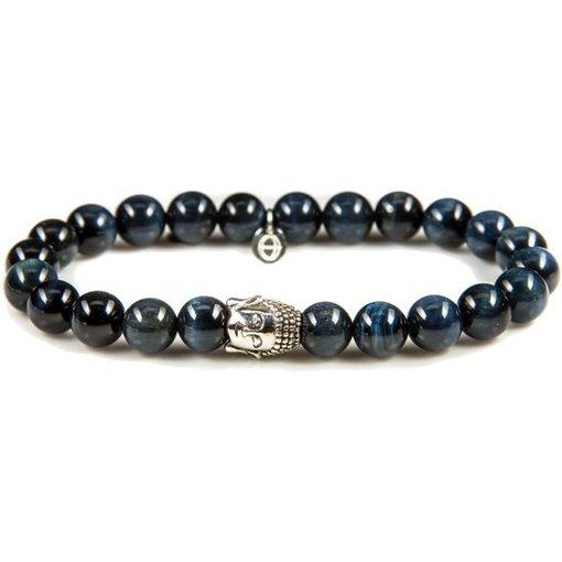 karma Silver Buddha Blue Tigereye Armband 86110