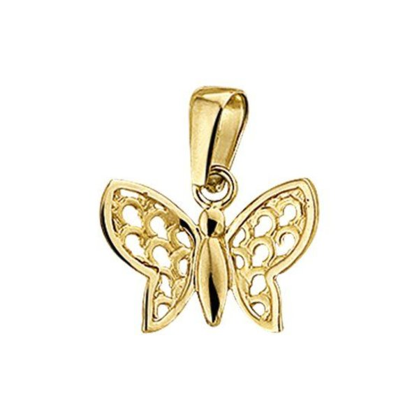 Hanger Vlinder Poli/mat - Geelgoud