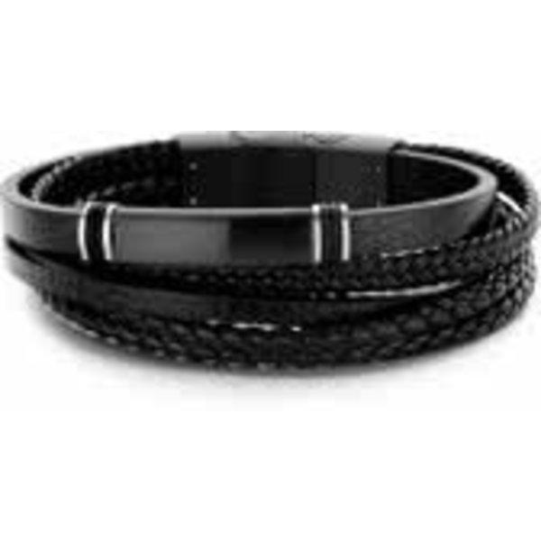 7FB-0228 - Heren armband met staal elementen - gevlochten leer - lengte 20 + 1 cm - zwart