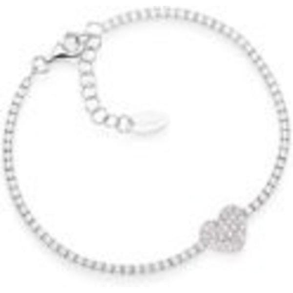 Bracelet Tennis Heart Zircons Silver