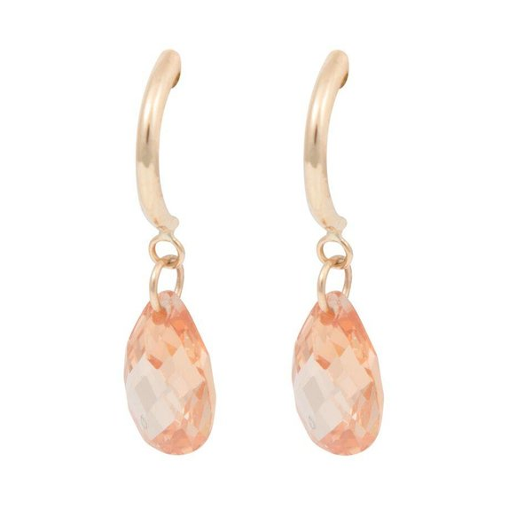 Earrings Half Hoop & Pear - Brown cubic zirkonia