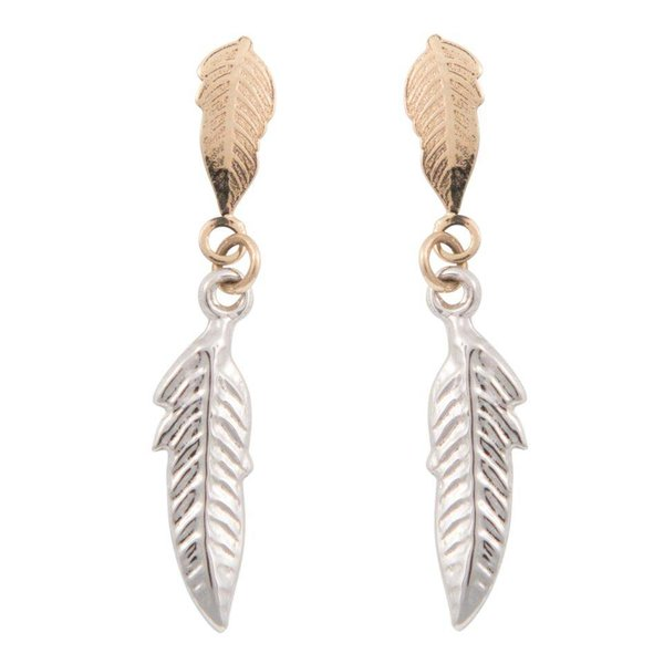 Earrings Feather - Bicolor Gold 14kt