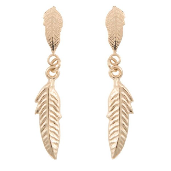 Earrings Feather - Yellow Gold 14kt