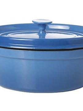 Cosy & Trendy Bergerac Kookpot M.plat Deksel Blauw 6l33x26,5cm Ovaal Gietijzer Binnenkant Cre