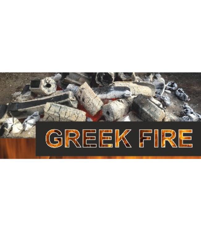 Greek Fire Geperste zeskantige houtskool met gat voor beter verbranding.
