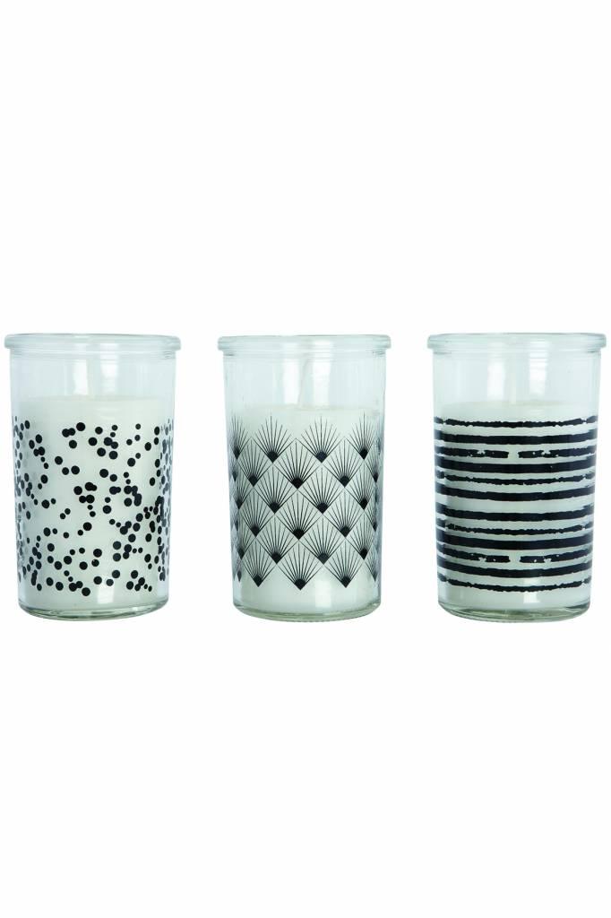 House Doctor Kaarsen met zwart/wit print 3st