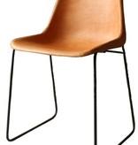 Lederen stoel licht bruin