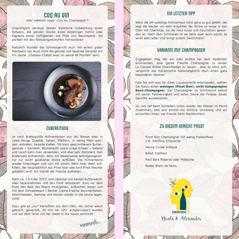 Rezeptkarte zum Sammeln Coq au Vin - Champagne Characters