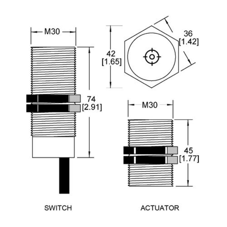 Magnetische contactloze cilindrische (M30) veiligheidsschakelaar MS3