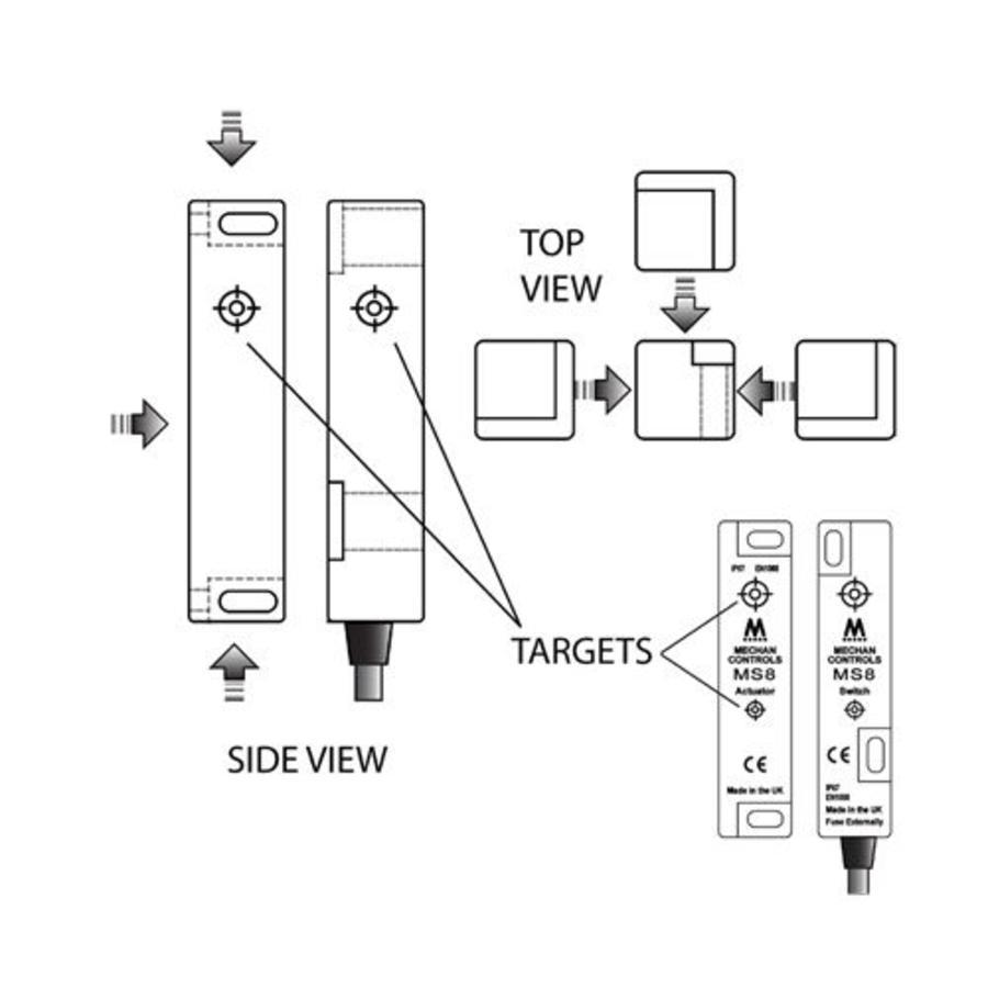 Magnetische contactloze veiligheidsschakelaar MS8-SS