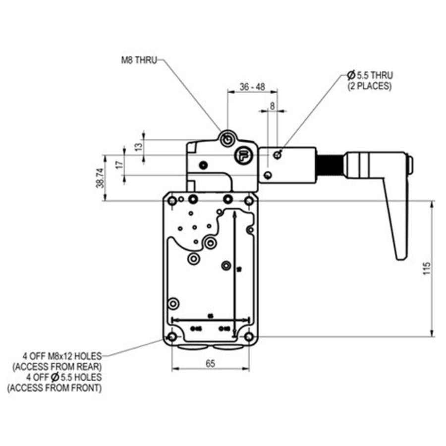 Sehr robuster Sicherheitsschalter mit Zuhatlung aus Metall mit Griffbetätiger PLe