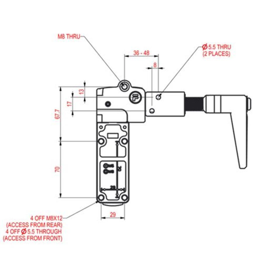 Sehr robuster Sicherheitsschalter aus Metall mit Griffbetätiger PLe