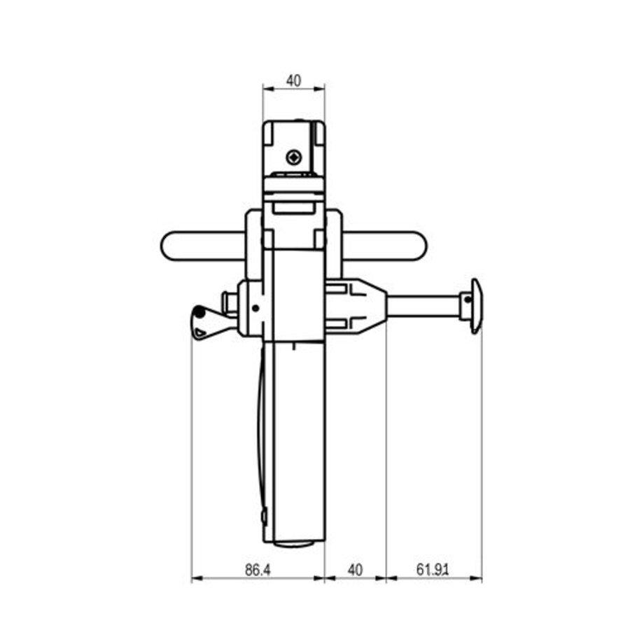 Vergrendelbare veiligheidsschakelaar met deurklinkbediening en noodontgrendeling