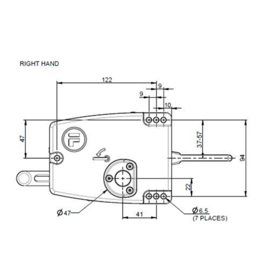 Sicherheitszuhaltung mit getrenntem Türgriffbetätiger und Drucktastern