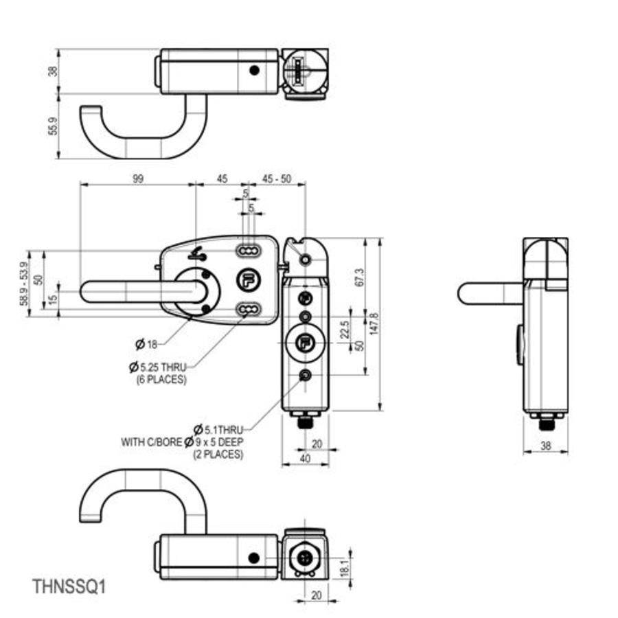 Deurklinkbediende aluminium veiligheidsschakelaar met noodontgrendeling PLd
