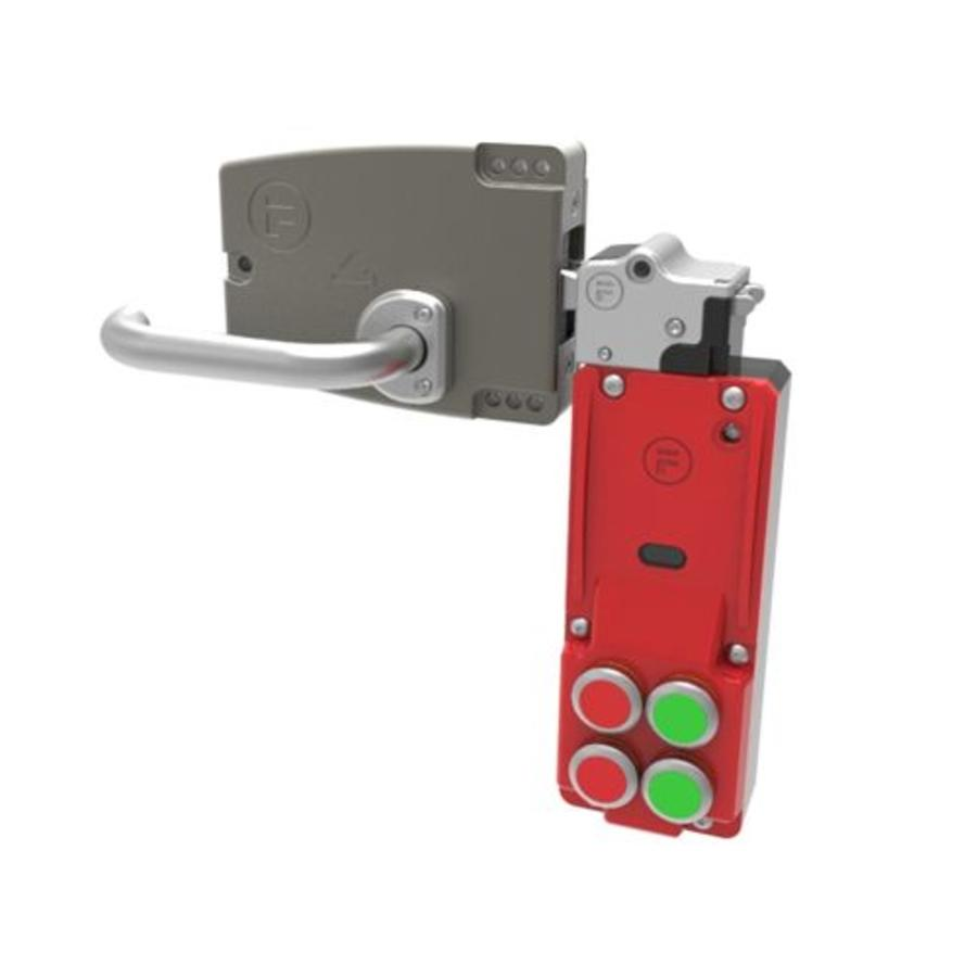 Vergrendelbare veiligheidsschakelaar met drukknoppen en deurklinkbediening