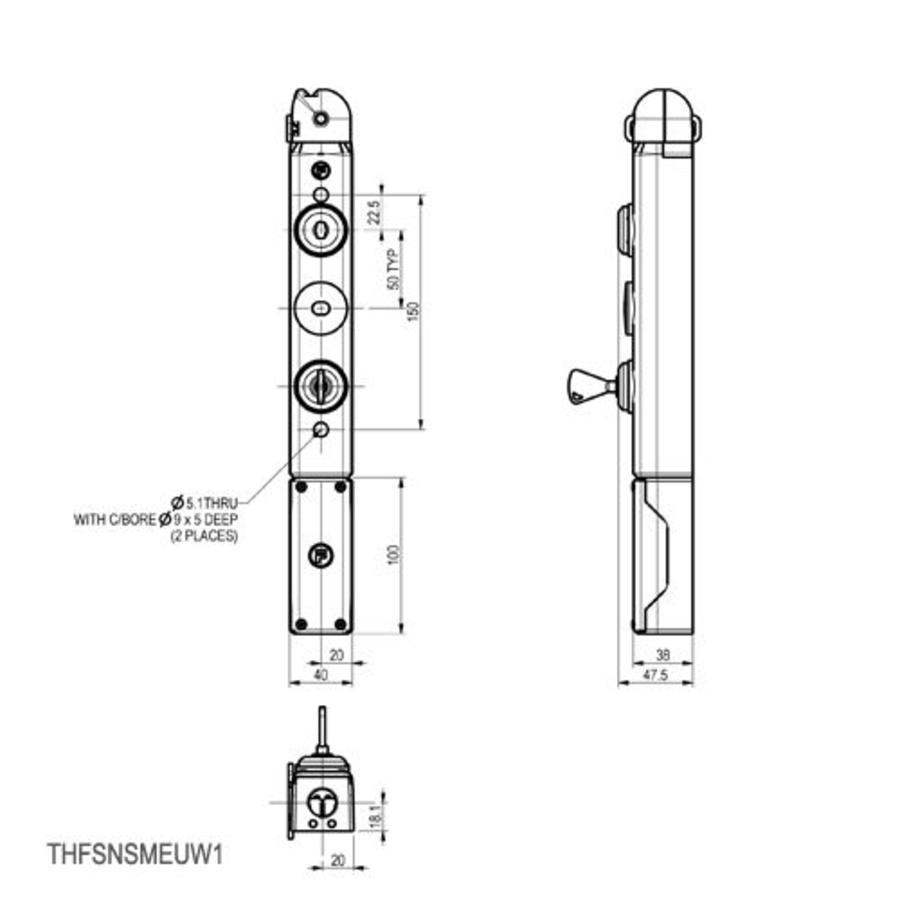 Vergrendelbare veiligheidsschakelaar met vaste tong en persoonlijke veiligheidssleutel