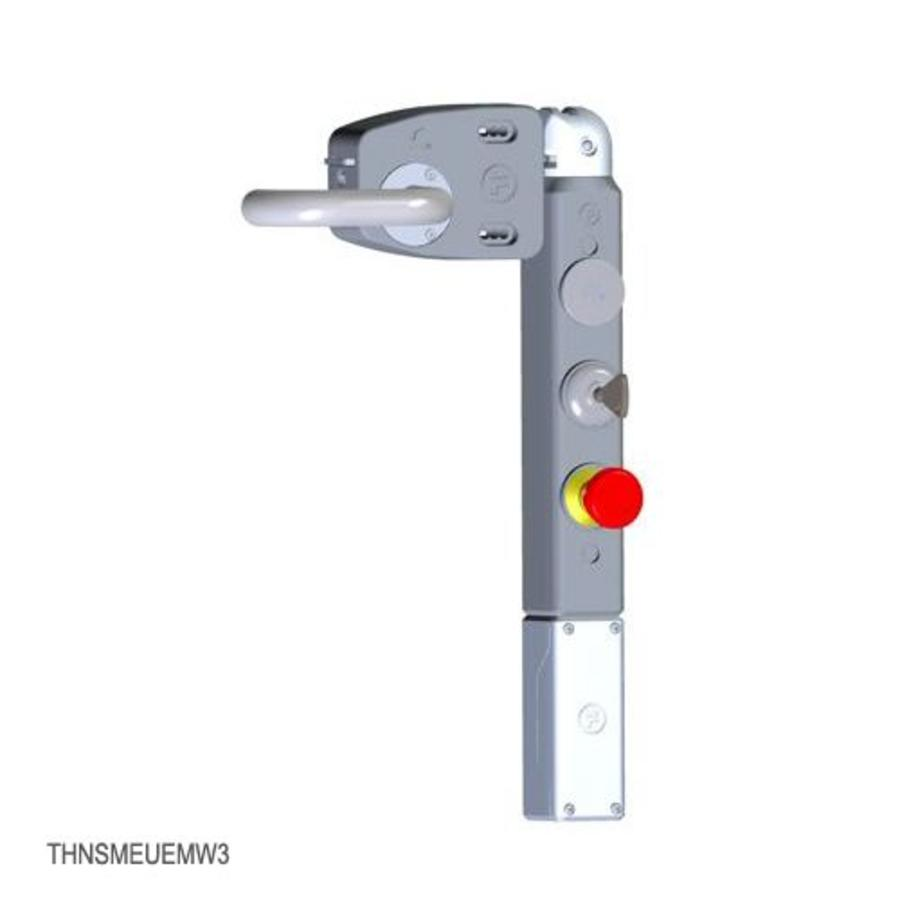 Door handle operated solenoid safety interlock switch c/w push buttons