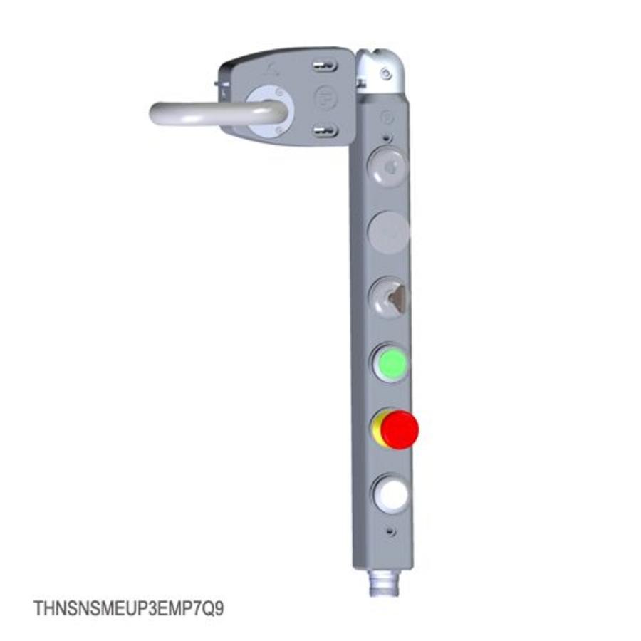 Vergrendelbare veiligheidsschakelaar met deurklinkbediening, persoonlijke veiligheidssleutel en drukknoppen