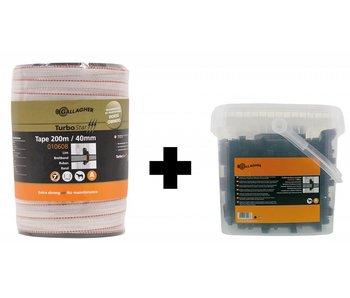 Gallagher TurboStar lint wit 40mm (200m) + TurboLine paarden isolator(100 Stuks)