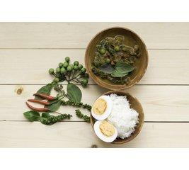 Rendang Padang, rijst en Sajur Lodeh