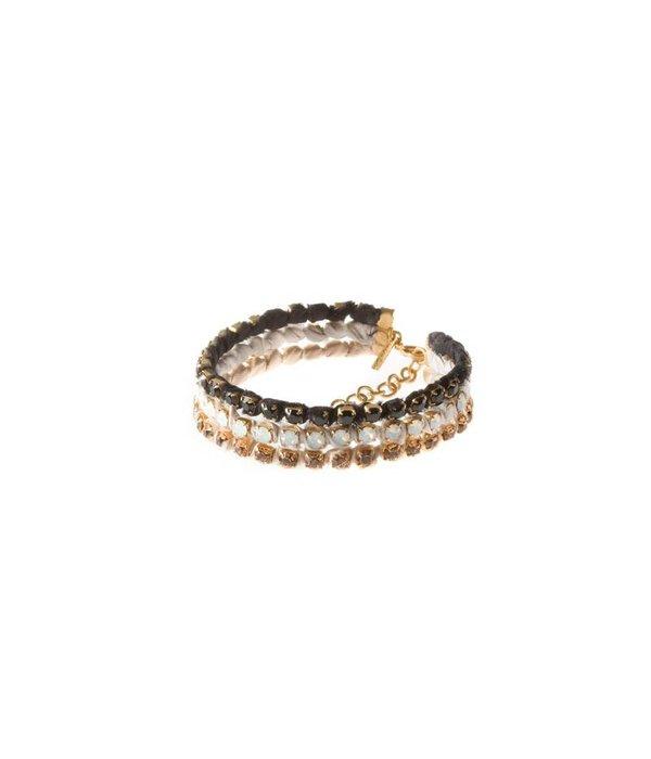 MAY mOma May Moma Bracelet SATIN PETIT silk matt 3 color swarovski crystals BSPZ002