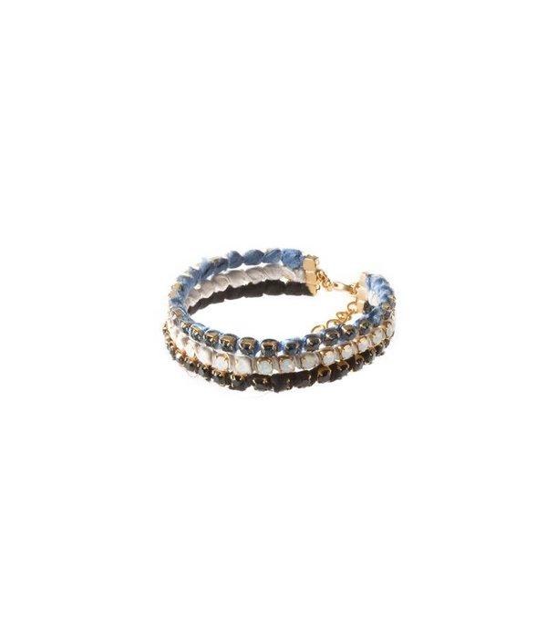 MAY mOma Mai MoMA Bracelet SATIN PETIT bleu cristaux Swarovski noirs et lumineuses BSPZ006