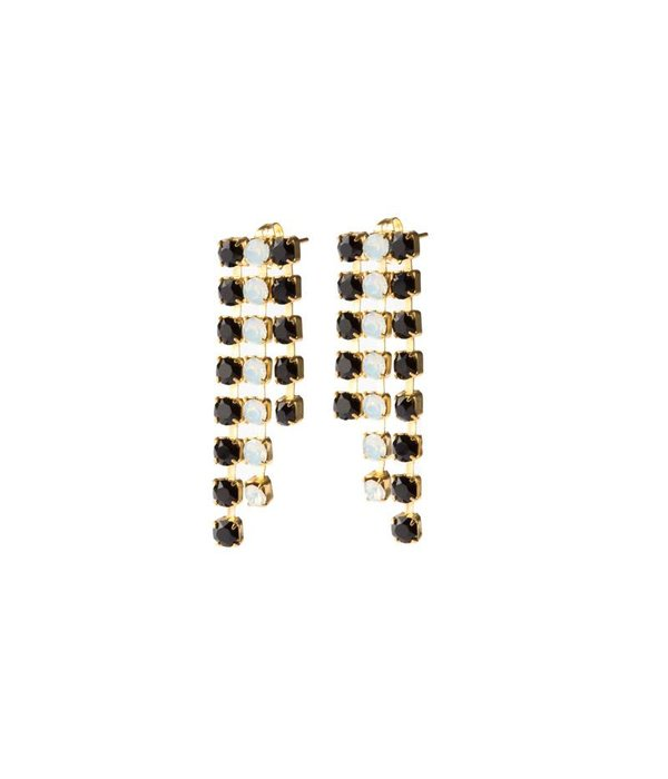 MAY mOma May Moma Earrings BOUCLES SATIN BSC5 in black and white crystals brass