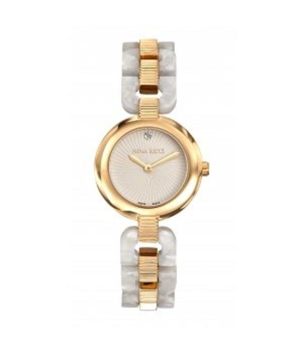 NINA RICCI horloge klassiek design in geel goud pvd met wit PEARL acetate N052003
