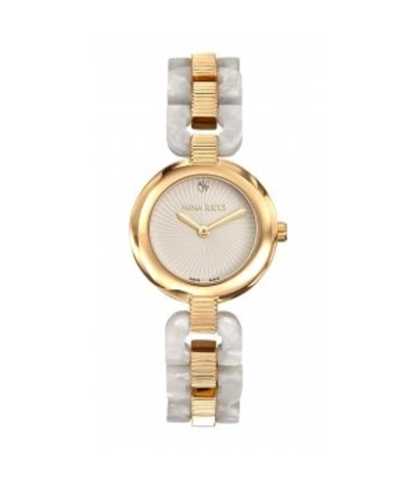 NINA RICCI watch classic design in yellow gold PVD with white PEARL acetate N052003