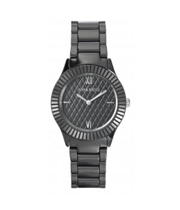 NINA RICCI horloge zwart ceramic N045008