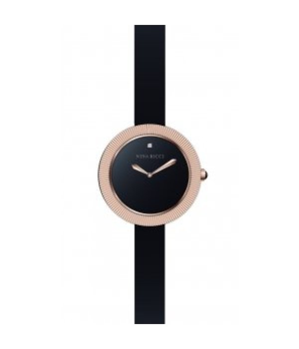 NINA RICCI horloge rosé gpoud pvd met zwart leer band N049003