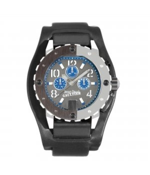 JEAN PAUL GAULTIER horloge roestvrij staal met breed zwart leer band 8500202