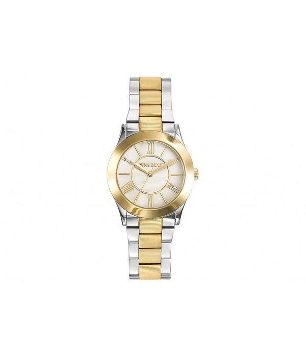 NINA RICCI horloge in geel en wit staal met parelmoer wijzerplaat N045012