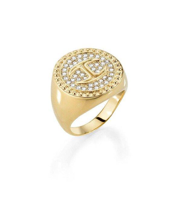 JUST CAVALLI Ring Just Banquet SCAEP03 in goudkleurig  met kristallen
