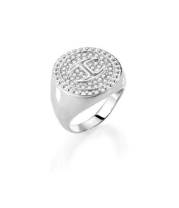 JUST CAVALLI Just Banquet SCAEP09 ring in stainless steel with white crystals and logo