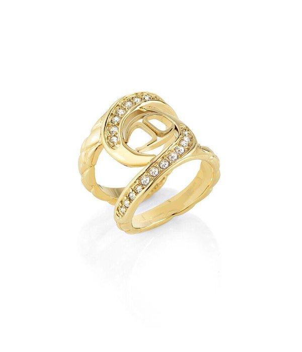 JUST CAVALLI ring Just Hurrican SCAEN07 in goud kleurig edelstaal met kristallen en logo