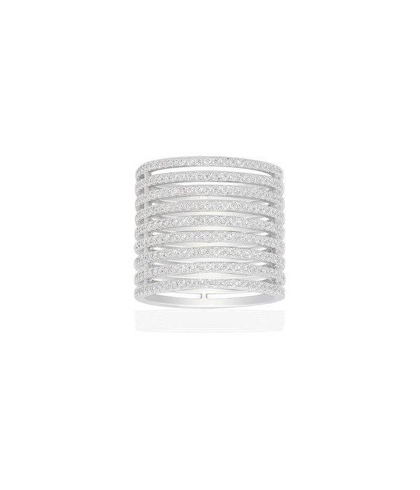 APM MONACO RING ADN Croisette A16181OX en argent sterling avec des cristaux blancs