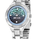 JUST CAVALLI Just Indie R7253215505 dames horloge met blauwe print wijzerplaat