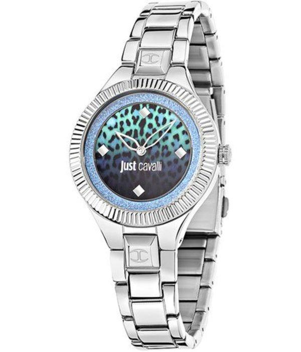 JUST CAVALLI Gerade Damen Indie R7253215505 Uhrenzifferblatt mit blauem Aufdruck