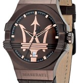 MASERATI  Potenza MEN WATCH R8851108011 METBRUINE LEATHER STRAP AND DIAL