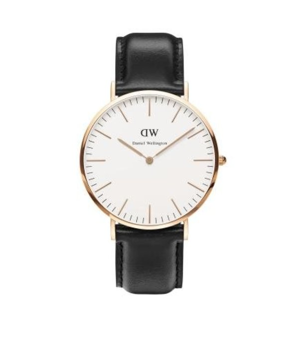 DANIEL WELLINGTON SHEFFIELD DW00100007 WATCH ROSéKLEURIG with BLACK leather strap