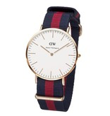 DANIEL WELLINGTON OXFORD DW00100001 WATCH IN SILVER WITH NATO BLUE-RED TAPE