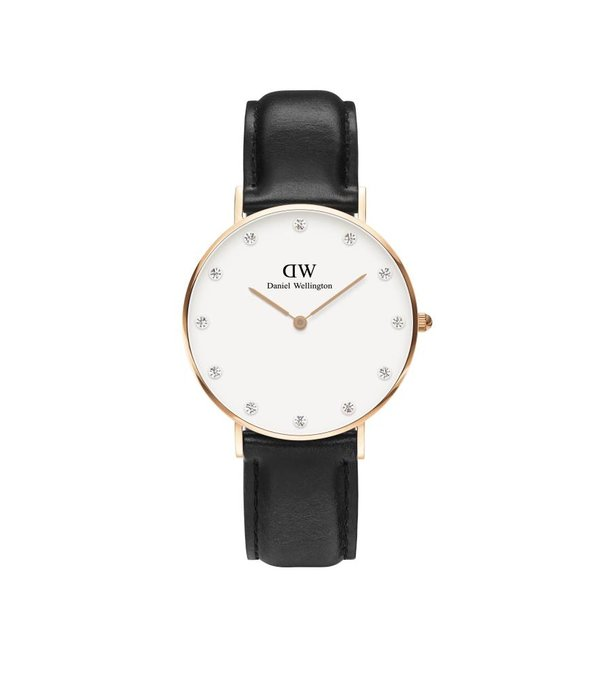 DANIEL WELLINGTON SHEFFIELD DW00100076 LADIES WATCH 34mm ROSE COLORED CABINET with BLACK leather strap