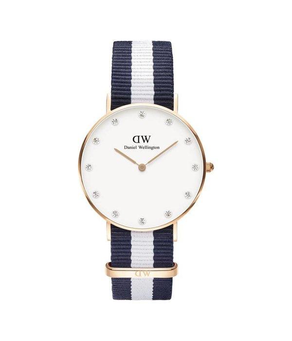 DANIEL WELLINGTON Glasgow DW001000078 Ladies Watch 34MM en couleur rose avec un ruban bleu et blanc Nato