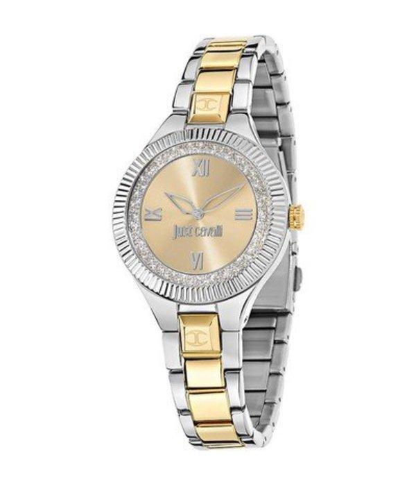 JUST CAVALLI Gerade Indie R7253215606 Uhr der Frauen in Gold und Silber, Edelstahl