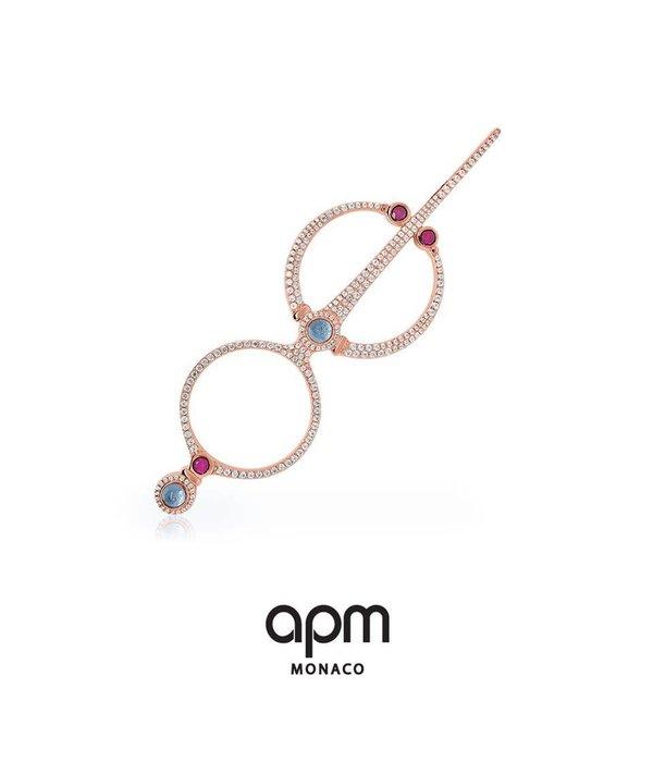 APM MONACO boucles d'oreilles TRESOR RE9325M EN Rosékleurig argent avec cristaux