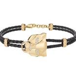 JUST CAVALLI GERADE TIGER SCAHG03 Armband, goldene und schwarze Leder