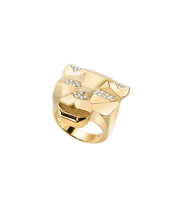 JUST CAVALLI RING GERADE TIGER SCAHG04 in goldfarbenen Edelstahl mit Kristallen