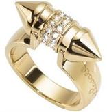 JUST CAVALLI GERADE PIN SCAHF07 RING, goldfarbenen Edelstahl mit Kristallen